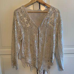 Silver and pearl sequin blazer
